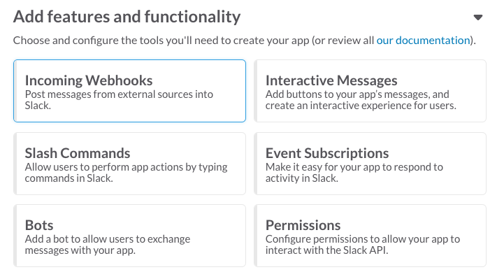Add the incoming webhook feature