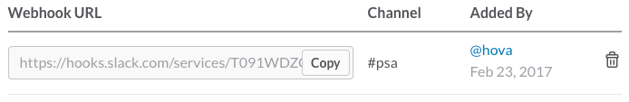 The incoming webhook table has an item